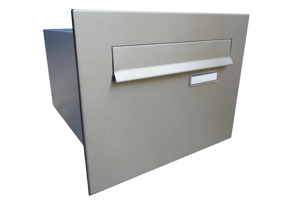 poštovní schránka B242 NEREZ -rovná - regulace hloubky 390-620 mm mm Provedení čelní desky: bez tlačítka s 1 jmenovkou