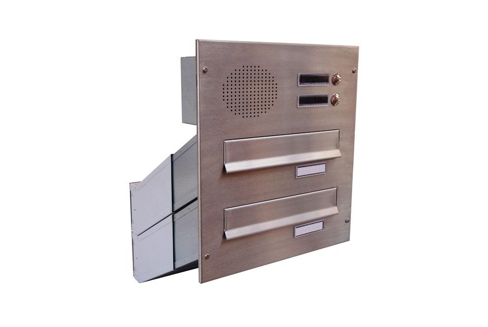 poštovní schránka 2 x D041 nebo D042 NEREZ ELEKTRO - šikmá - regulace hloubky 230-480 mm provedení sestavy: 2 x D041 NEREZ + ELEKTRO(regulace…
