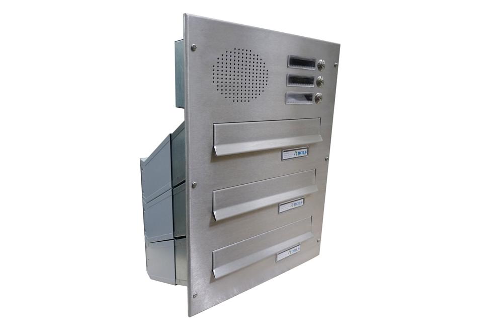 poštovní schránka 3 x D041 nebo D042 NEREZ ELEKTRO - šikmá - regulace hloubky 230-480 mm provedení sestavy: 3 x D041 NEREZ + ELEKTRO(regulace…