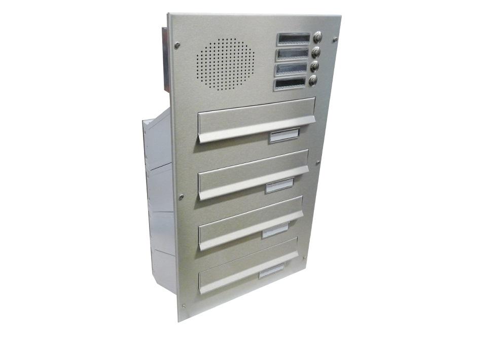 poštovní schránka 4 x D041 nebo D042 NEREZ ELEKTRO - šikmá - regulace hloubky 230-480 mm provedení sestavy: 4 x D041 NEREZ + ELEKTRO(regulace…