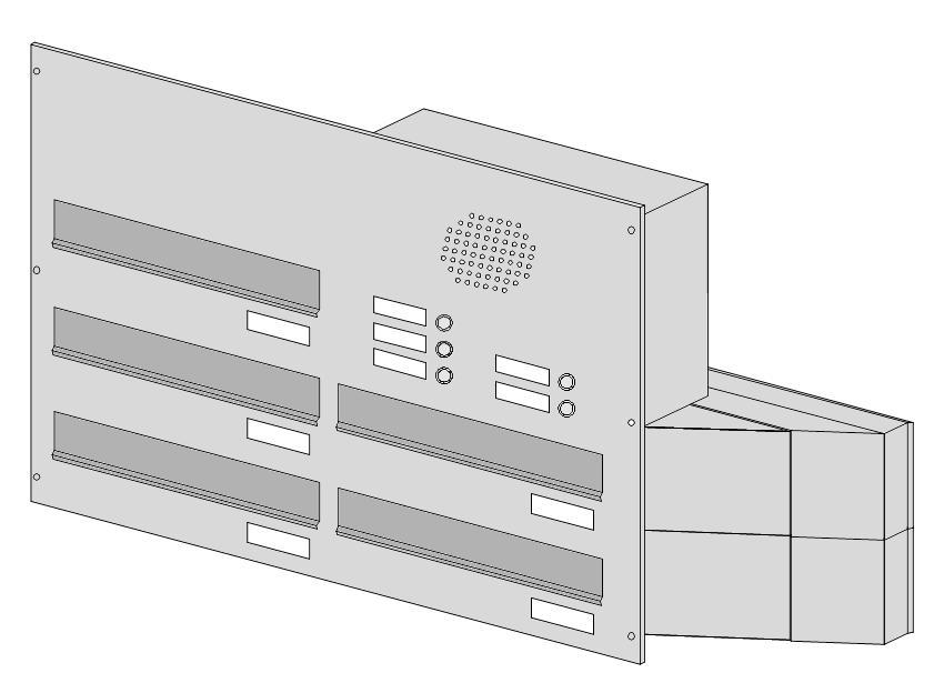 poštovní schránka 5 x D041 nebo D042 NEREZ ELEKTRO - šikmá - regulace hloubky 230-480 provedení sestavy: 5 x D041 NEREZ + ELEKTRO(regulace 230-380)