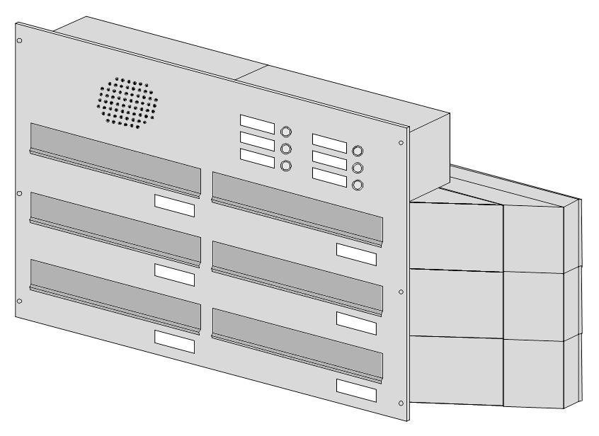 poštovní schránka 6 x D041 nebo D042 NEREZ ELEKTRO - šikmá - regulace hloubky 230-480 provedení sestavy: 6 x D041 NEREZ(regulace hloubky 230-380