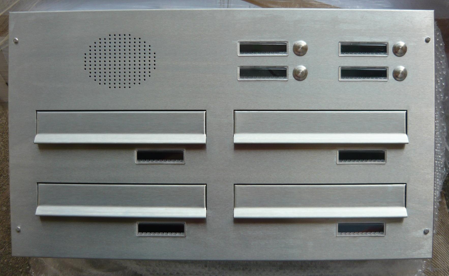 poštovní schránka 4 x D041 nebo D042 NEREZ ELEKTRO - šikmá - regulace hloubky 230-480 provedení sestavy: 4 x D041 NEREZ + ELEKTRO(regulace 230-380)