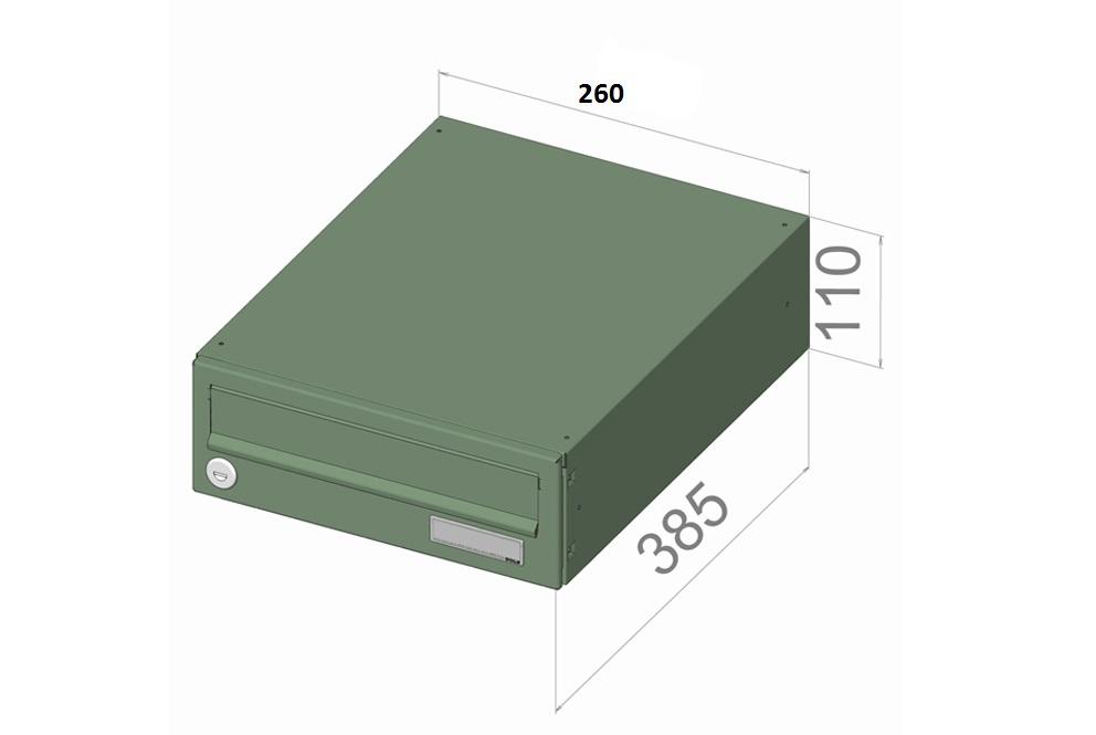 B016 NEREZ (tělo RAL 7040) - 260 x 110 x 385 (ležatý model) zpracování schránky: samostatně zabalená (připravena pro složení)