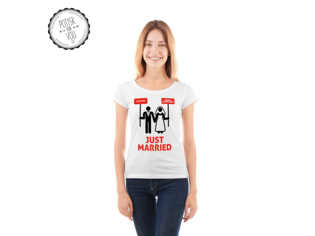 just married 2 white black red