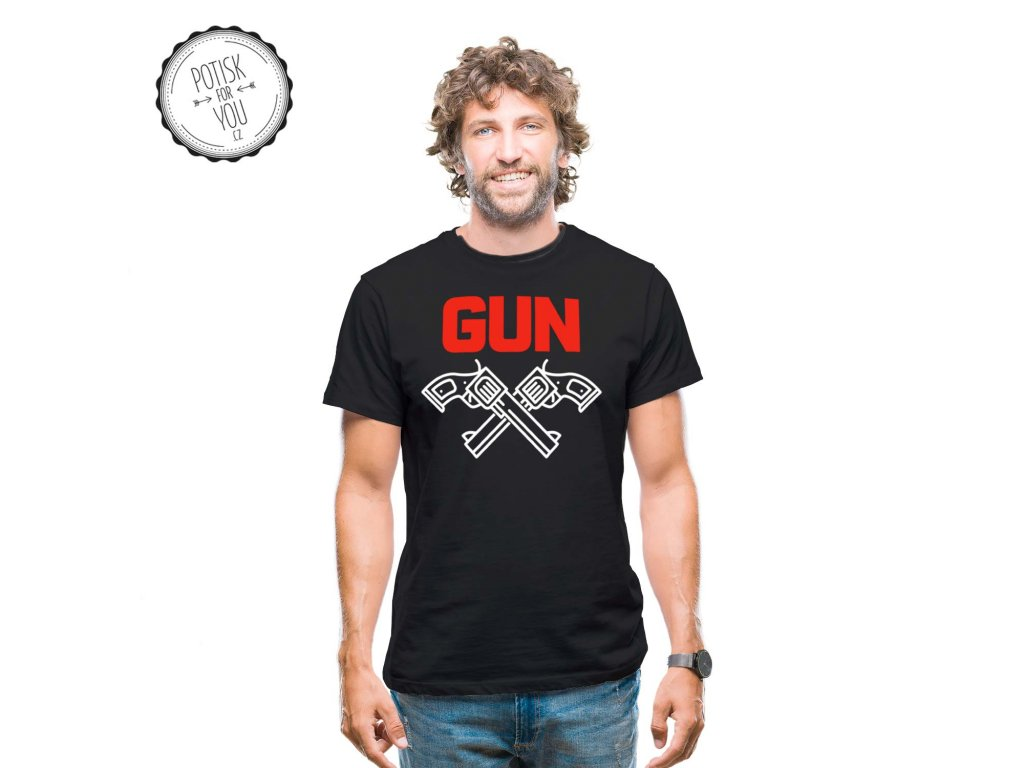 gun black white red
