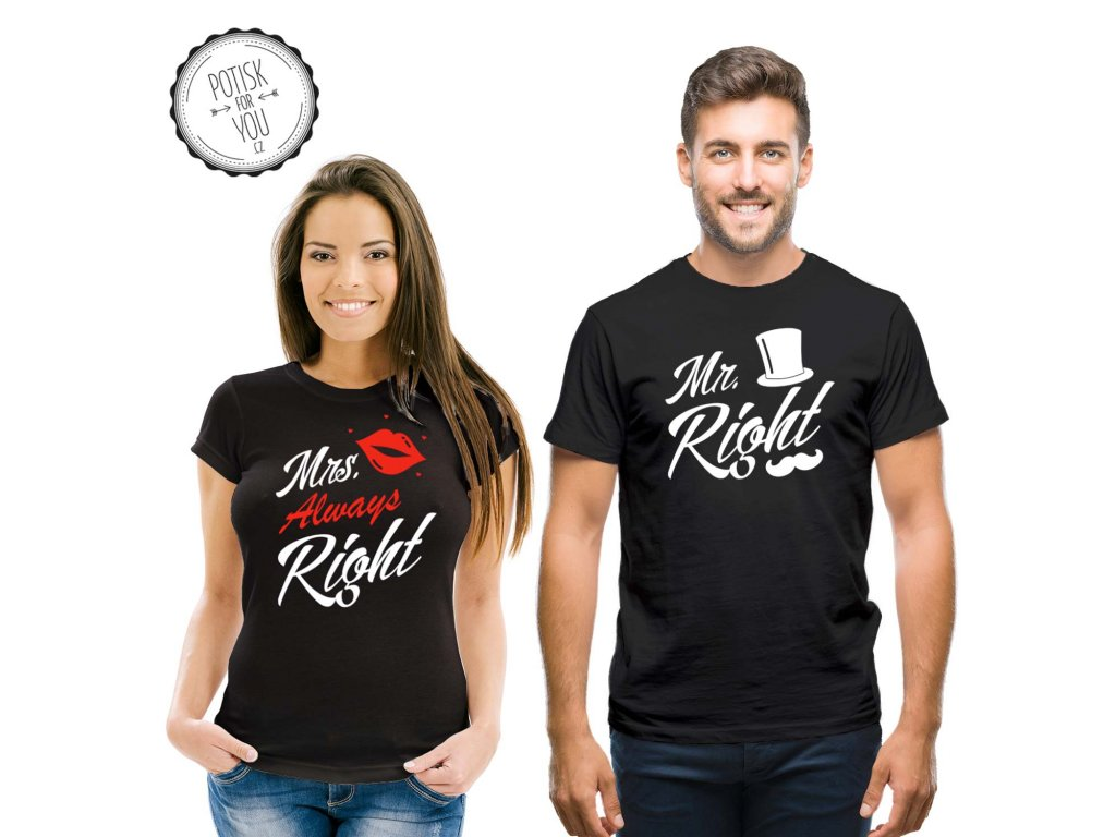 mr mrs right black white red