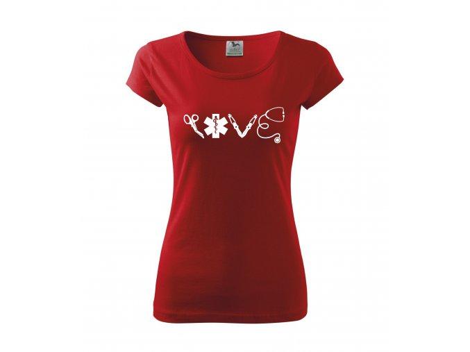 Tričko pro sestřičku LOVE D16 červené/bílý potisk