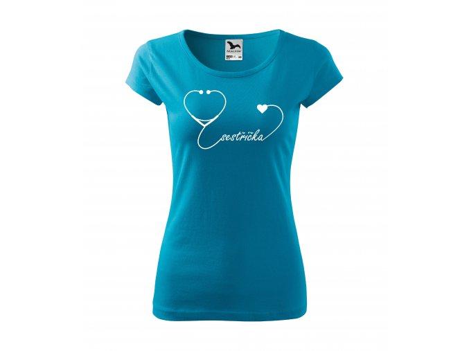 Tričko pro zdravotní sestru D17 tyrkysové/bílý potisk