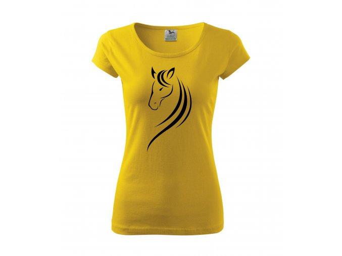 Tričko s koněm 19 žluté/bílý potisk