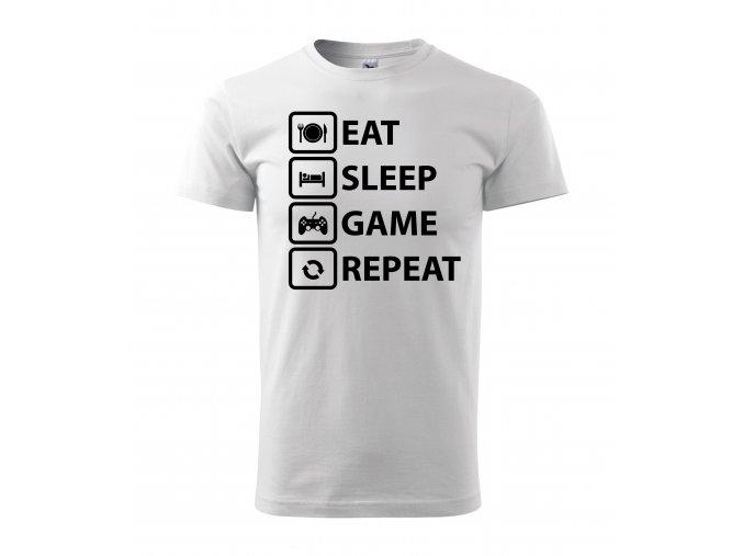 Eat,Sleep,Game,Repeat bílé s černým potiskem