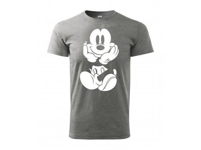 Tričko pánské Mickey Mouse 261 šedé/bílý potisk