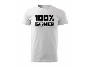 100% Gamer bílé s černým potiskem