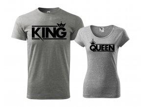 Trička King & Queen 253 šedé