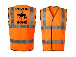 Reflexní vesta oranžová Pozor koně