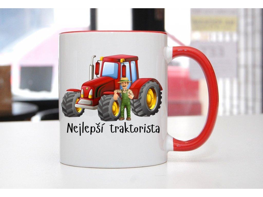 hrnek traktorista červený