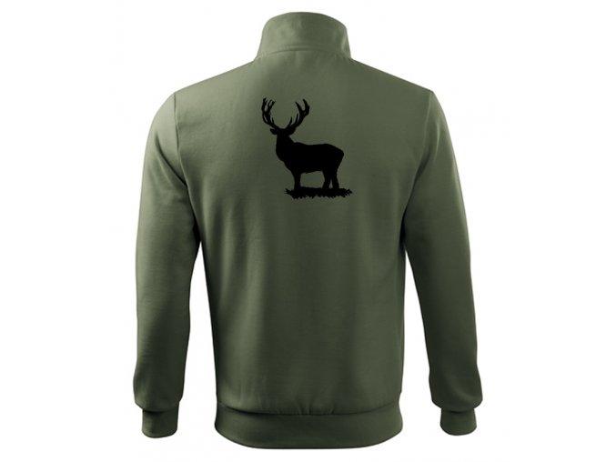 myslivecká mikina khaki jelen bez kříže zip