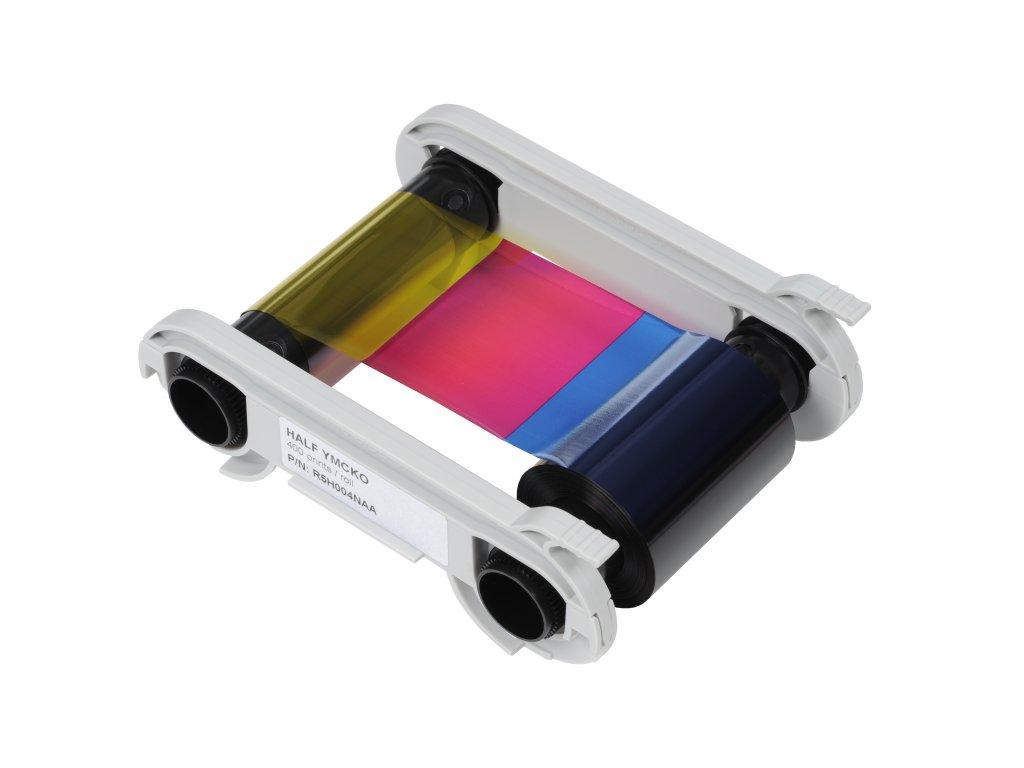Half YMCKO color ribbon