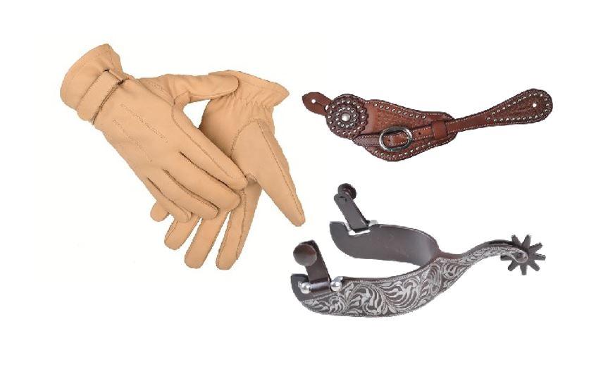 Westernové rukavice a ostruhy