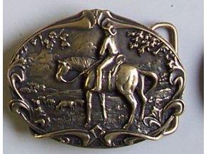 Westernová přezka na opasek Cowboy (Barva zlatá)