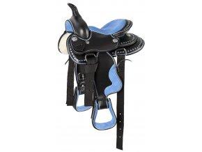 """Westernové sedlo Blue (délka posedlí 12"""", Velikost pony)"""
