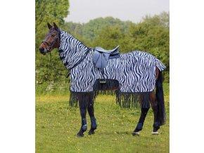 Jezdecká síťová deka Zebra s třásněmi