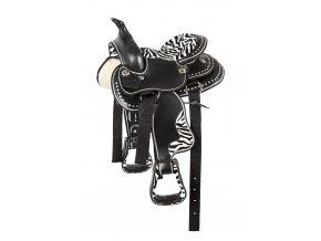 """Westernové sedlo zebra (délka posedlí 12"""", Velikost pony)"""