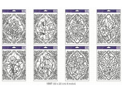 48087 predloha na adhezni folii s vyvysenou konturou 1597 vitraz s rohy
