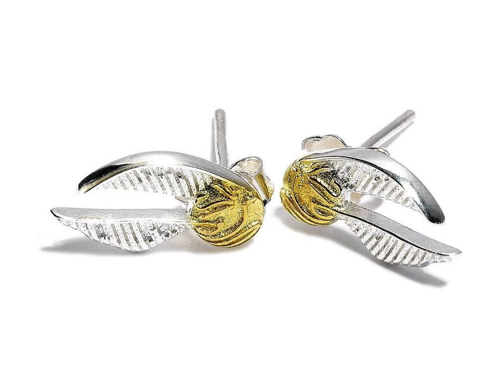 harry potter earrings golden snitch silver plated 0