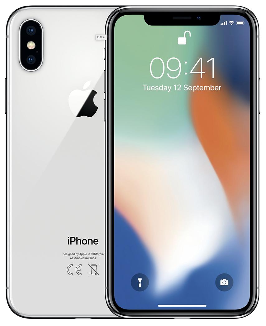 iPhone X Silver (bílo-stříbrný) + DÁRKY za 500 Kč + 33 dní výměna ZDARMA Paměť: 64GB, Kategorie: C+