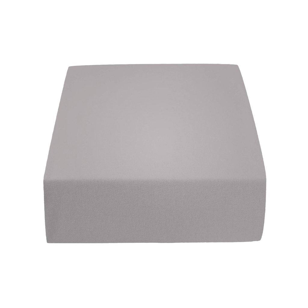 prostěradlo bavlněné jersey žerzejové dvoulůžko 200 x 220 cm šedé