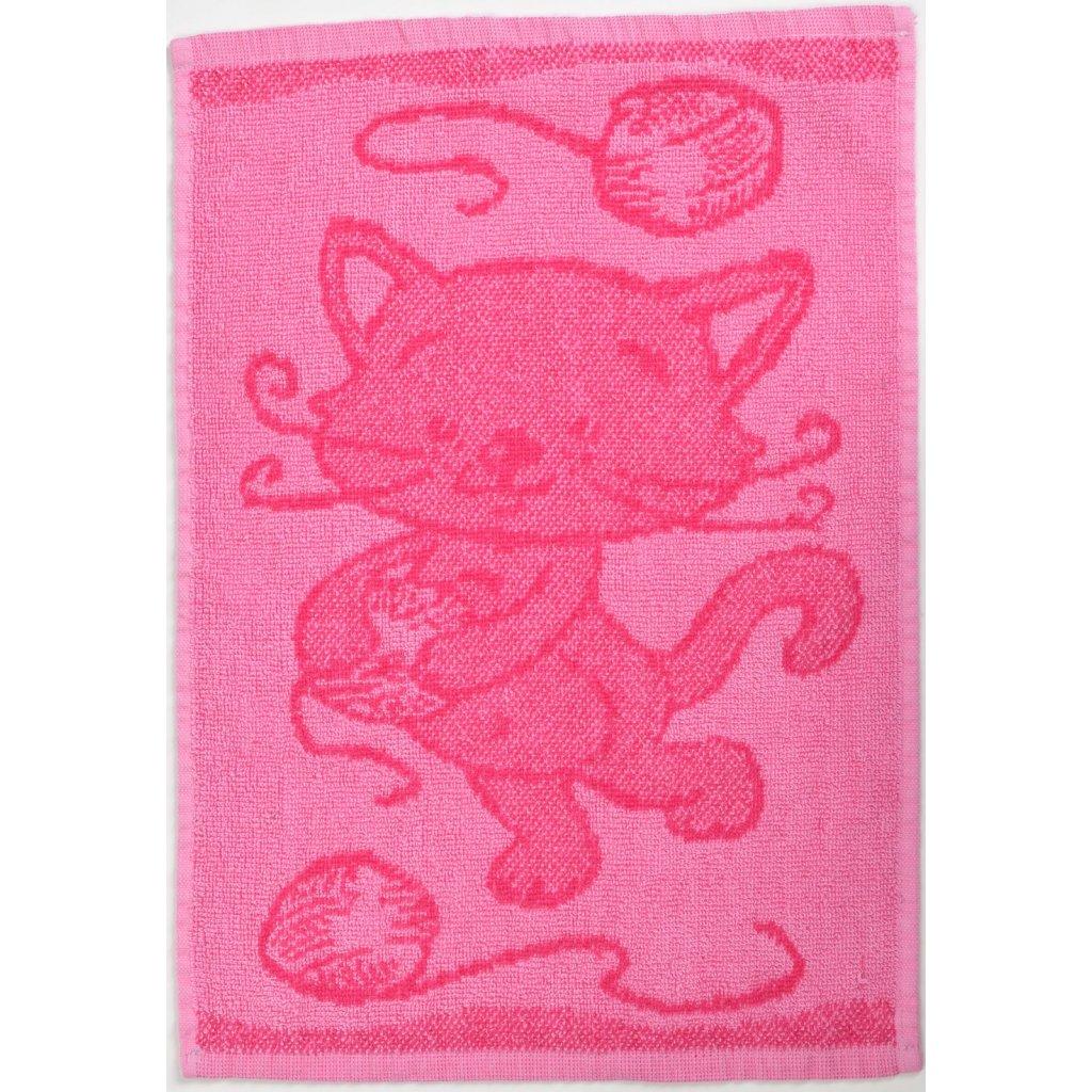 Dětský ručník BEBÉ kočička růžový 30x50 cm