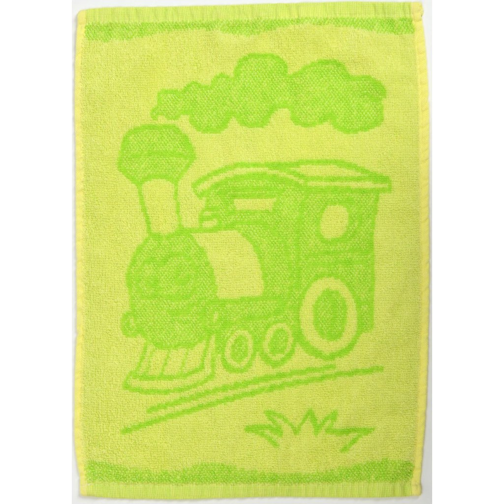 Dětský ručník BEBÉ mašinka zelený 30x50 cm