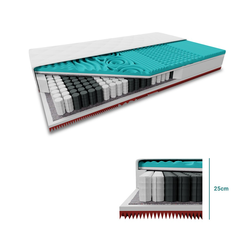 Taštičková matrace 1+1 MEMORY EXTRAFLEX 25cm 2 ks 90 x 200 cm
