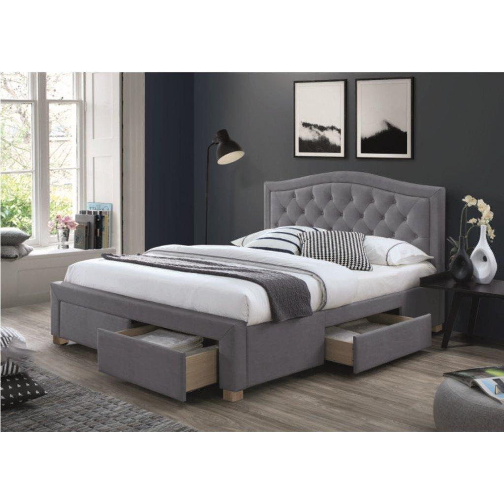 Čalouněná postel ELECTRA VELVET 160 x 200 cm šedá