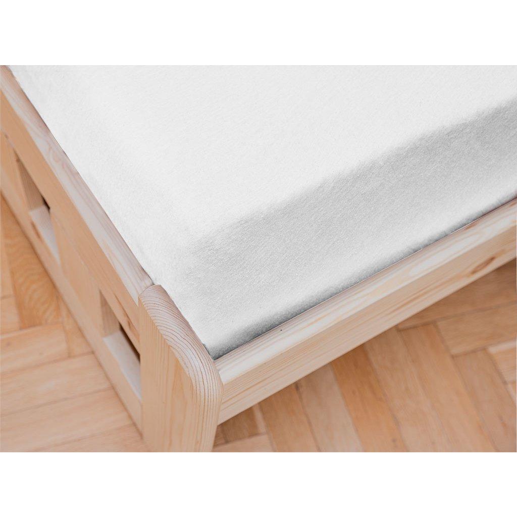 prostěradlo bavlněné jersey žerzejové jednolůžko 90 x 200 cm bílé
