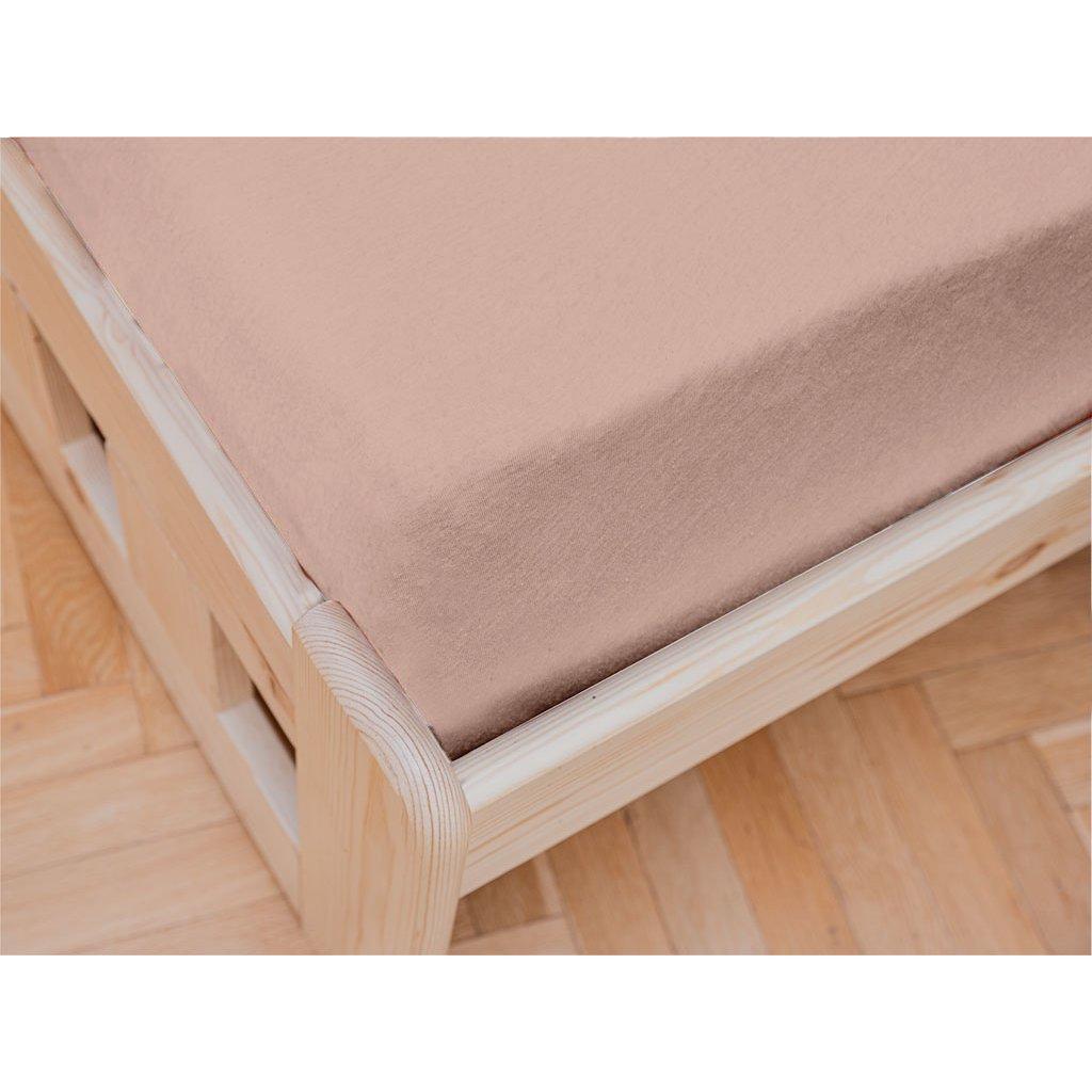 prostěradlo bavlněné jersey žerzejové jednolůžko 90 x 200 cm oranžové meruňkové