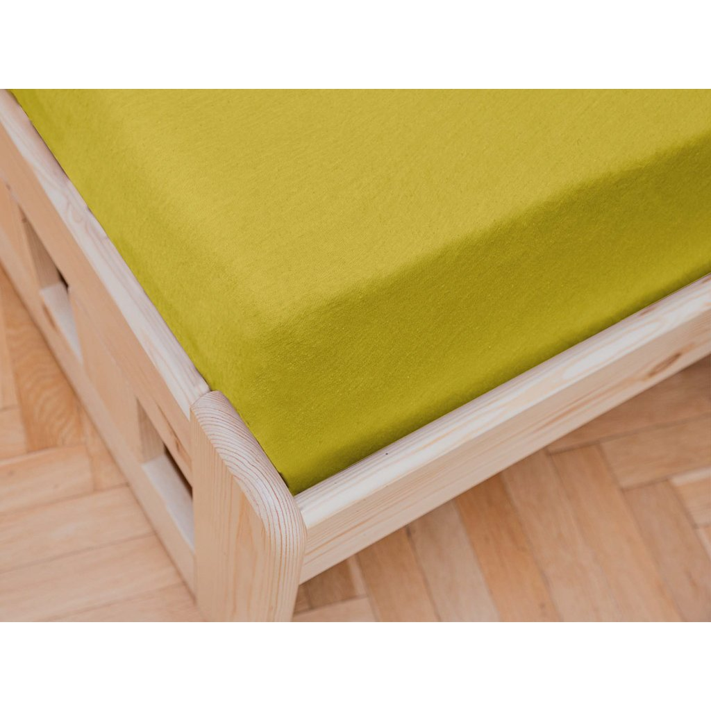 prostěradlo bavlněné jersey žerzejové jednolůžko 90 x 200 cm žluté