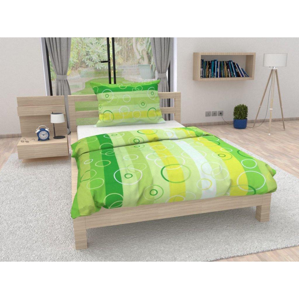 Bavlněné povlečení Kola zelené (Francouzské Povlečení na peřinu s polštářem 2 ks 70 x 90; 200 x 220cm)