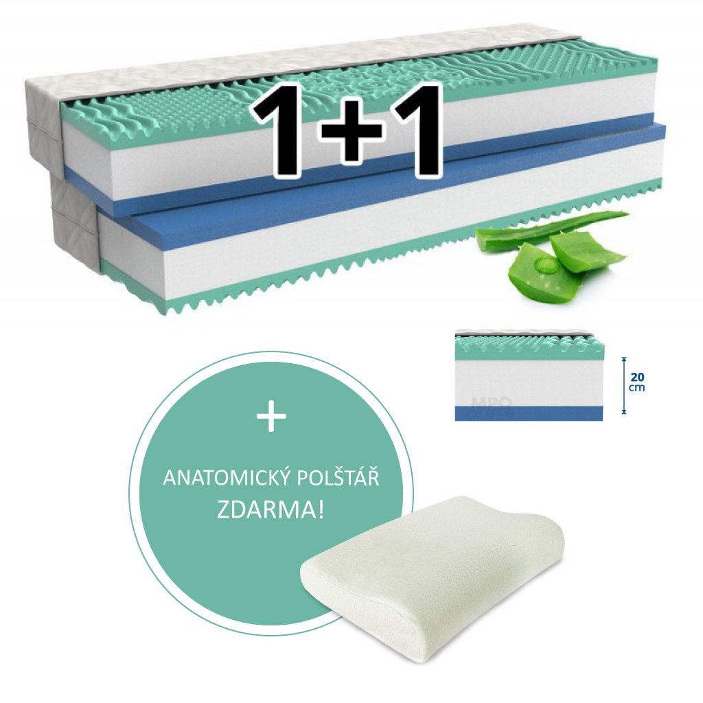 Ortopedická matrace 1+1 ALOE COMFORT 2 ks 120 x 200 cm