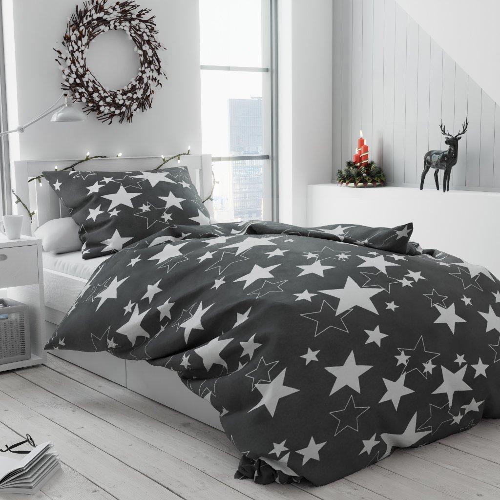 Povlečení mikroplyš bílé šedé hvězdy hvězdičky vánoční moderní vánoce