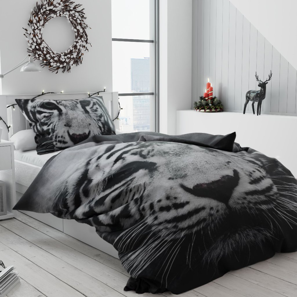 3d povleceni s motivem tygra bw
