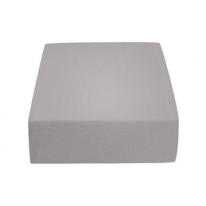 prostěradlo bavlněné jersey žerzejové jednolůžko 90 x 200 cm šedé