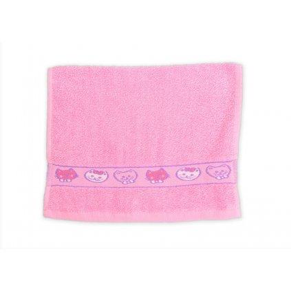 Ručník dětský 30 x 50 cm dětské motivy obrázky výšivka bavlněný růžový kočička kočka koťátko