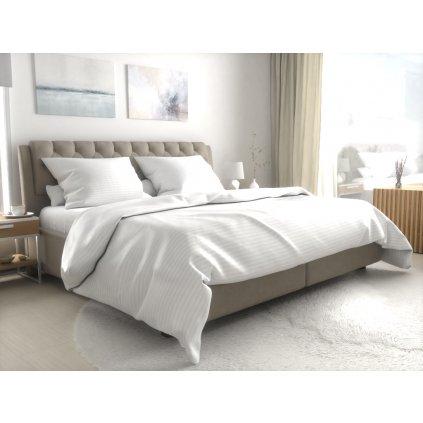 Hotelové povlečení atlas grádl bílé - proužek 2 cm česaná bavlna