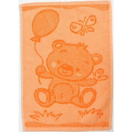 Dětský ručník BEBÉ medvídek oranžový 30x50 cm