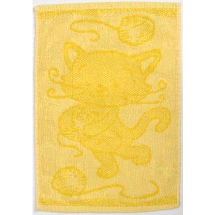 Dětský ručník BEBÉ kočička žlutý 30x50 cm