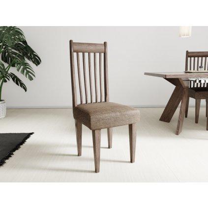 Napínací potah na židli bez opěradla Karo tmavě hnědý