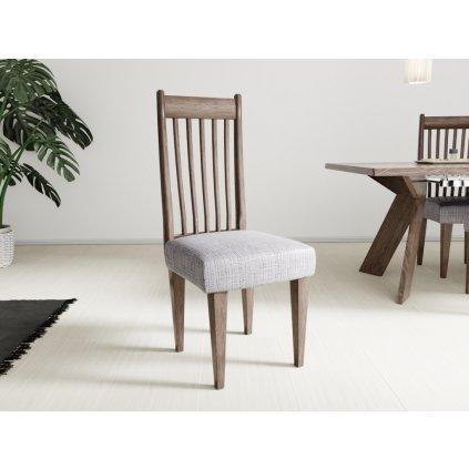 Napínací potah na židli bez opěradla Karo šedý