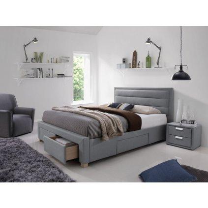 Čalouněná postel INES 160 x 200 cm šedá